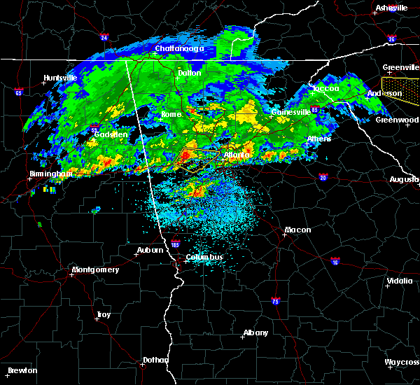 Radar Image for Severe Thunderstorms near Chattahoochee Hills, GA at 4/9/2020 4:57 AM EDT