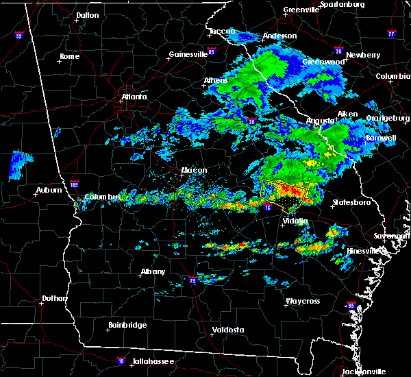 Radar Image for Severe Thunderstorms near Swainsboro, GA at 4/9/2020 7:28 AM EDT