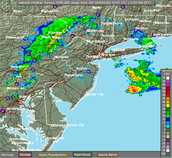 Radar Image for Severe Thunderstorms near Fivepointville, PA at 4/9/2020 12:04 PM EDT