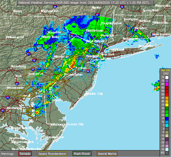 Radar Image for Severe Thunderstorms near Yardley, PA at 4/9/2020 1:26 PM EDT