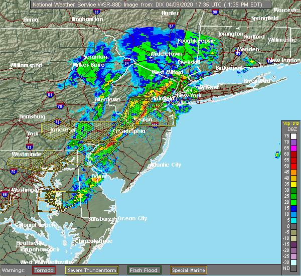Radar Image for Severe Thunderstorms near Roselle Park, NJ at 4/9/2020 1:37 PM EDT