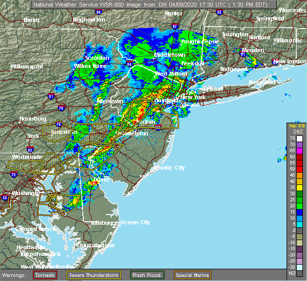 Radar Image for Severe Thunderstorms near Burlington, NJ at 4/9/2020 1:36 PM EDT