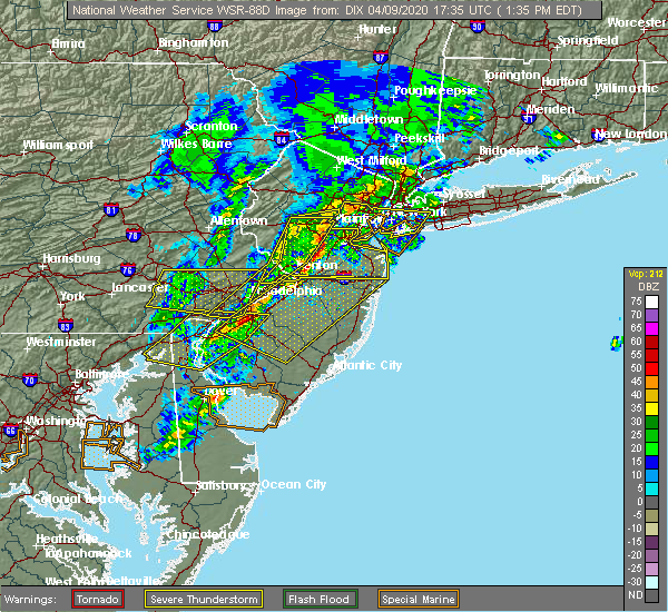 Radar Image for Severe Thunderstorms near Yardley, PA at 4/9/2020 1:40 PM EDT