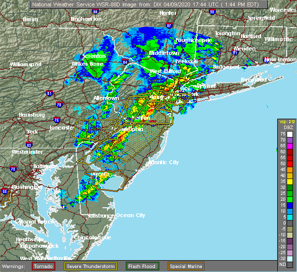 Radar Image for Severe Thunderstorms near Turnersville, NJ at 4/9/2020 1:53 PM EDT