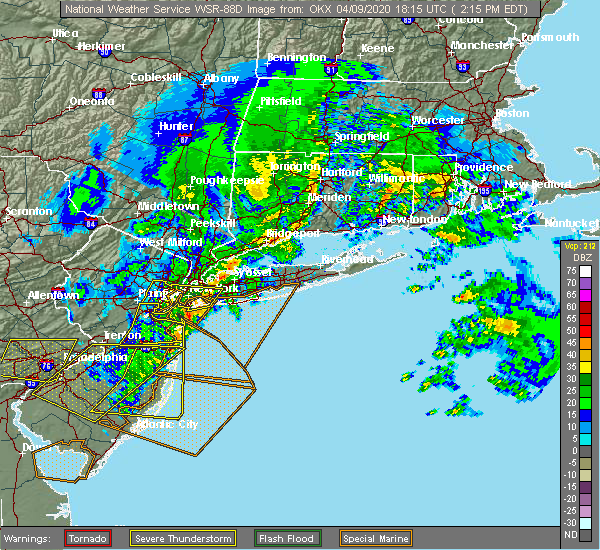 Radar Image for Severe Thunderstorms near Bethpage, NY at 4/9/2020 2:18 PM EDT