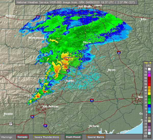 Radar Image for Severe Thunderstorms near Round Rock, TX at 4/9/2020 2:40 PM CDT