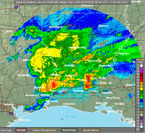 Radar Image for Severe Thunderstorms near Ville Platte, LA at 4/9/2020 7:55 PM CDT
