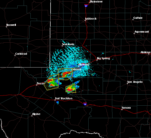 Radar Image for Severe Thunderstorms near Odessa, TX at 4/10/2020 6:27 PM CDT