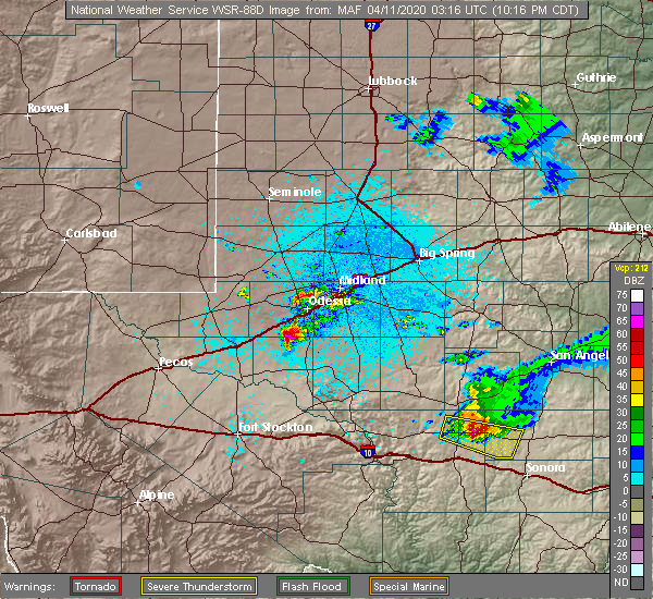 Radar Image for Severe Thunderstorms near Odessa, TX at 4/10/2020 10:20 PM CDT
