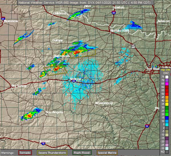 Radar Image for Severe Thunderstorms near Hamlin, TX at 4/11/2020 4:54 PM CDT