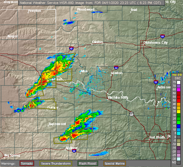 Radar Image for Severe Thunderstorms near Hollis, OK at 4/11/2020 6:29 PM CDT