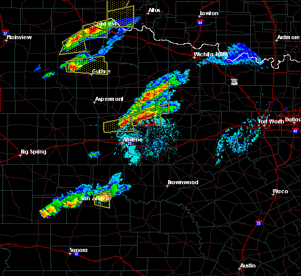 Radar Image for Severe Thunderstorms near Lueders, TX at 4/11/2020 6:38 PM CDT