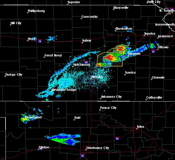 Radar Image for Severe Thunderstorms near Cassoday, KS at 4/11/2020 6:57 PM CDT