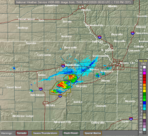Radar Image for Severe Thunderstorms near Eskridge, KS at 4/11/2020 7:07 PM CDT