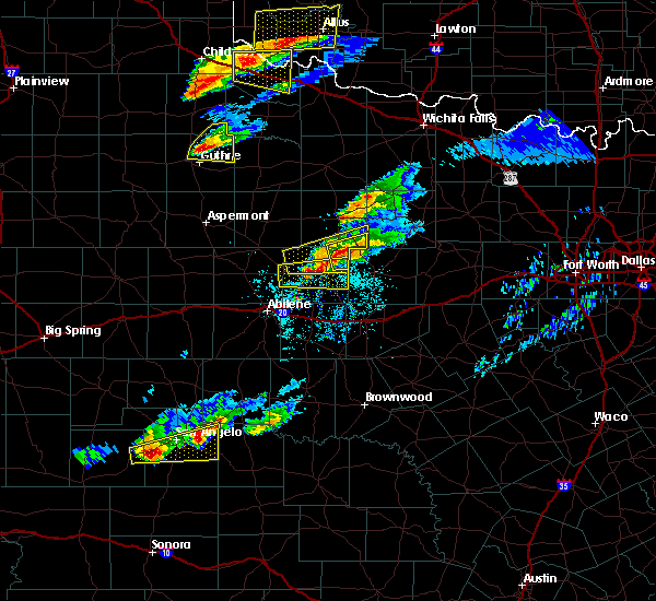 Radar Image for Severe Thunderstorms near Woodson, TX at 4/11/2020 7:13 PM CDT