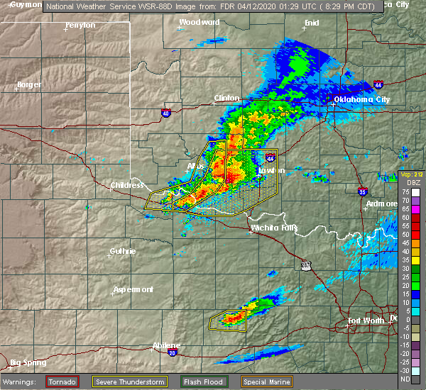 Radar Image for Severe Thunderstorms near Cyril, OK at 4/11/2020 8:38 PM CDT