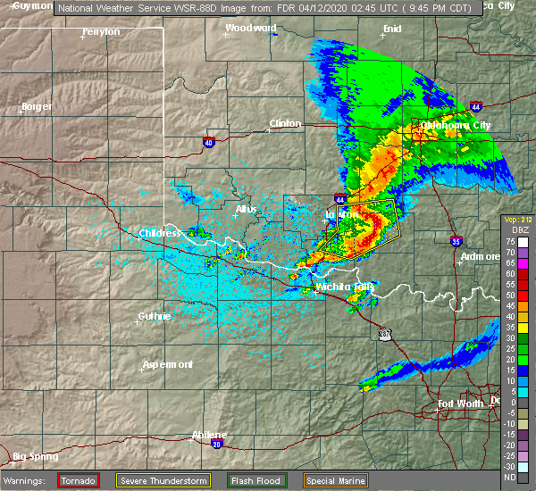 Radar Image for Severe Thunderstorms near Marlow, OK at 4/11/2020 9:50 PM CDT