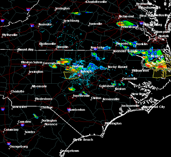 Radar Image for Severe Thunderstorms near Durham, NC at 6/25/2015 8:05 PM EDT