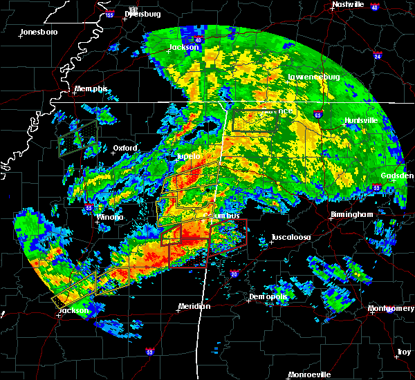 Radar Image for Severe Thunderstorms near Shannon, MS at 4/12/2020 3:31 PM CDT