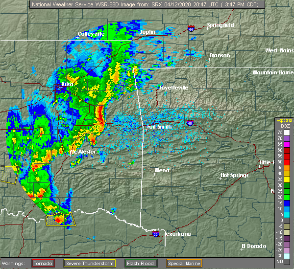 Radar Image for Severe Thunderstorms near Tamaha, OK at 4/12/2020 3:51 PM CDT