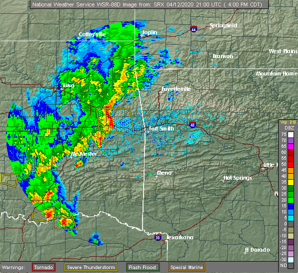 Radar Image for Severe Thunderstorms near Tamaha, OK at 4/12/2020 4:04 PM CDT