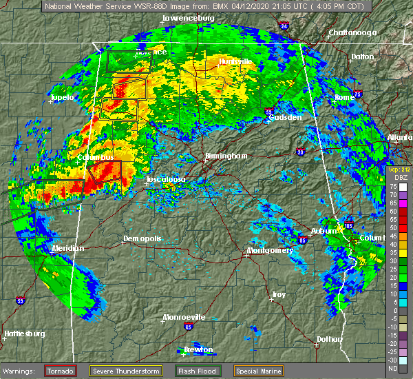 Radar Image for Severe Thunderstorms near Berry, AL at 4/12/2020 4:13 PM CDT