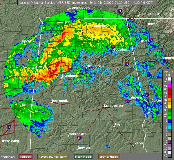 Radar Image for Severe Thunderstorms near Jasper, AL at 4/12/2020 4:43 PM CDT