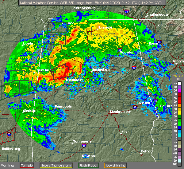 Radar Image for Severe Thunderstorms near Berry, AL at 4/12/2020 4:45 PM CDT