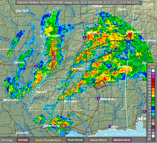 Radar Image for Severe Thunderstorms near Bay Springs, MS at 4/12/2020 5:46 PM CDT