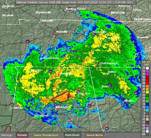 Radar Image for Severe Thunderstorms near Lookout Mountain, AL at 4/12/2020 5:57 PM CDT