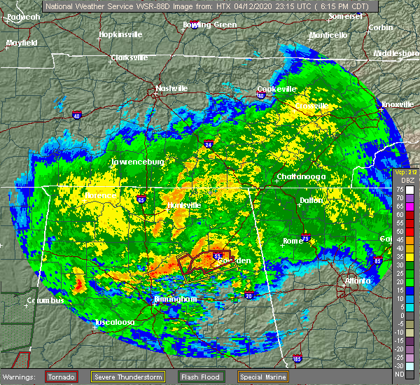 Radar Image for Severe Thunderstorms near Whitesboro, AL at 4/12/2020 6:18 PM CDT
