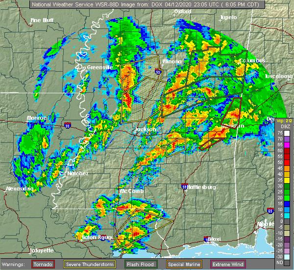 Radar Image for Severe Thunderstorms near Sylvarena, MS at 4/12/2020 6:20 PM CDT