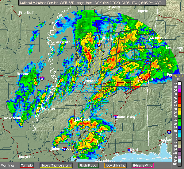 Radar Image for Severe Thunderstorms near Carrollton, MS at 4/12/2020 6:22 PM CDT