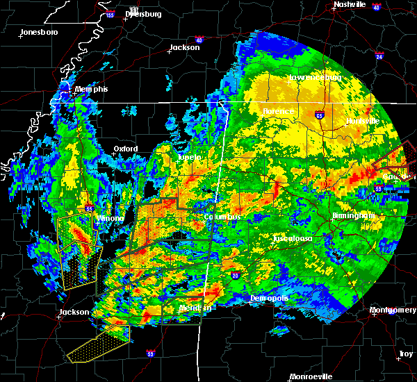 Radar Image for Severe Thunderstorms near Winona, MS at 4/12/2020 6:43 PM CDT