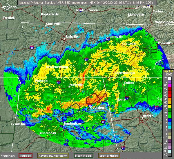 Radar Image for Severe Thunderstorms near LaFayette, GA at 4/12/2020 7:51 PM EDT
