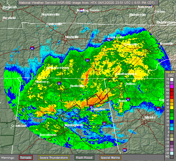 Radar Image for Severe Thunderstorms near Whitesboro, AL at 4/12/2020 6:55 PM CDT