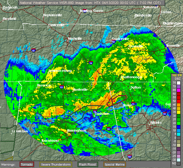 Radar Image for Severe Thunderstorms near Broomtown, AL at 4/12/2020 7:08 PM CDT