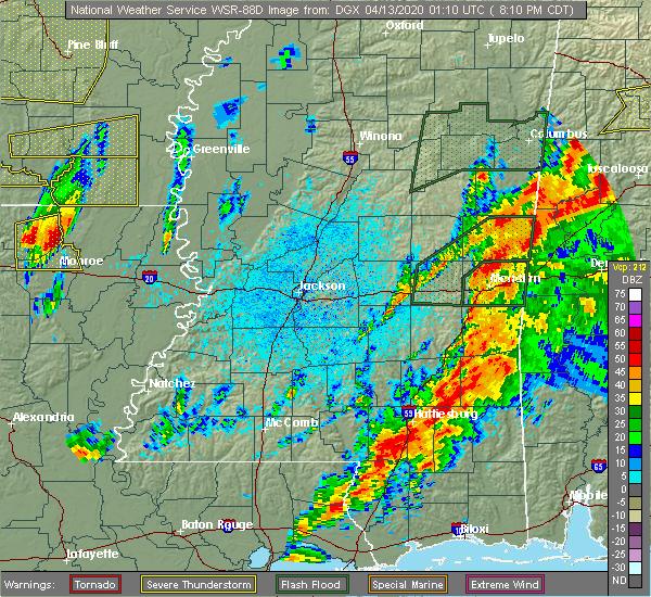 Radar Image for Severe Thunderstorms near Mer Rouge, LA at 4/12/2020 8:17 PM CDT