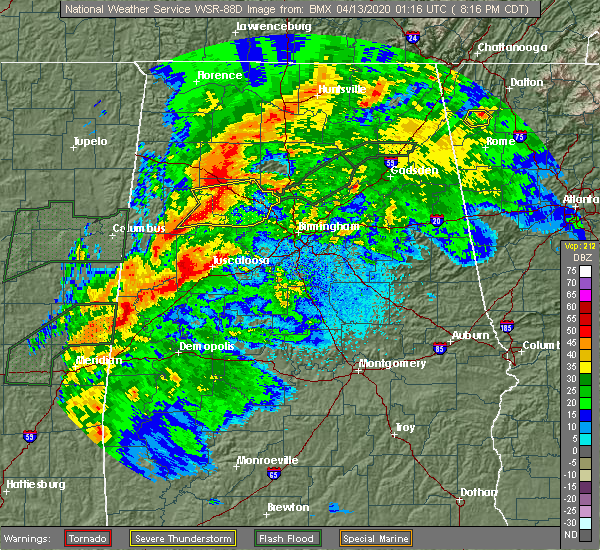Radar Image for Severe Thunderstorms near Guntersville, AL at 4/12/2020 8:25 PM CDT