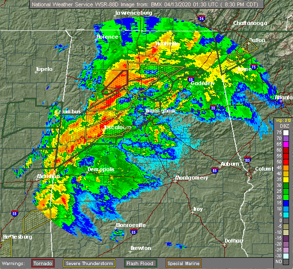 Radar Image for Severe Thunderstorms near Bessemer, AL at 4/12/2020 8:35 PM CDT