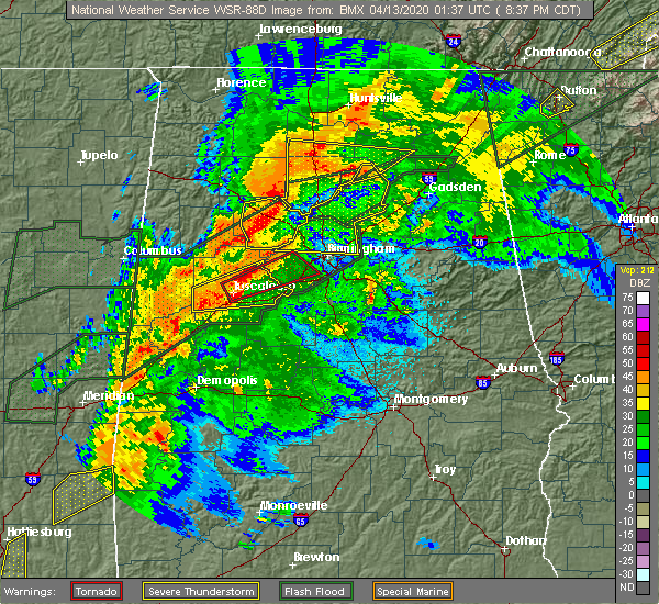 Radar Image for Severe Thunderstorms near Brookwood, AL at 4/12/2020 8:39 PM CDT
