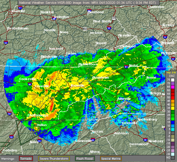 Radar Image for Severe Thunderstorms near Tellico Plains, TN at 4/12/2020 9:40 PM EDT