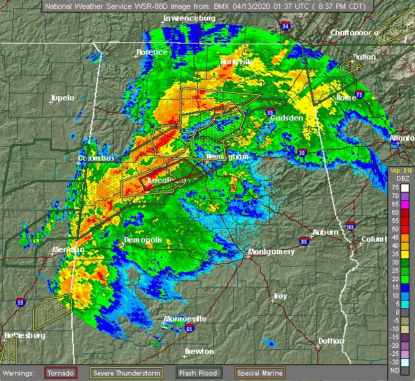 Radar Image for Severe Thunderstorms near Birmingham, AL at 4/12/2020 8:44 PM CDT