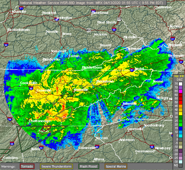 Radar Image for Severe Thunderstorms near Tellico Plains, TN at 4/12/2020 9:58 PM EDT