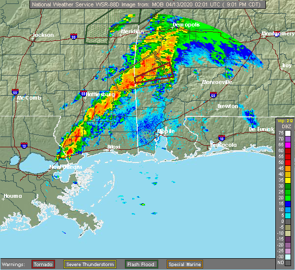 Radar Image for Severe Thunderstorms near State Line, MS at 4/12/2020 9:08 PM CDT