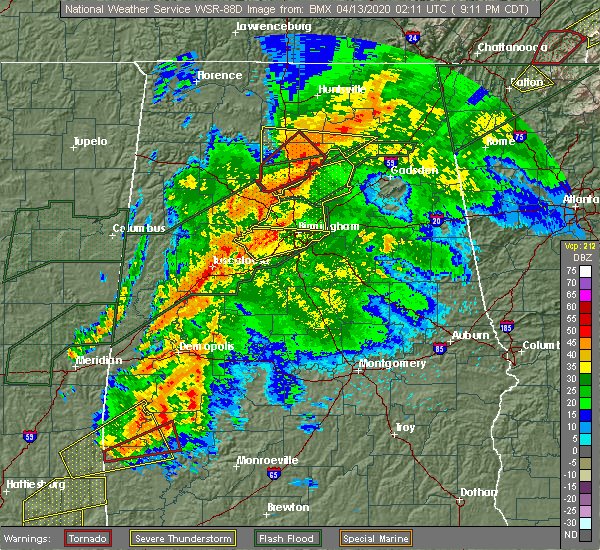 Radar Image for Severe Thunderstorms near Mulga, AL at 4/12/2020 9:15 PM CDT