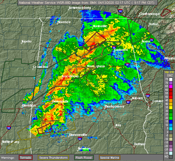 Radar Image for Severe Thunderstorms near Pell City, AL at 4/12/2020 9:22 PM CDT