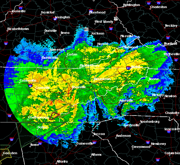 Radar Image for Severe Thunderstorms near Tellico Plains, TN at 4/12/2020 10:31 PM EDT