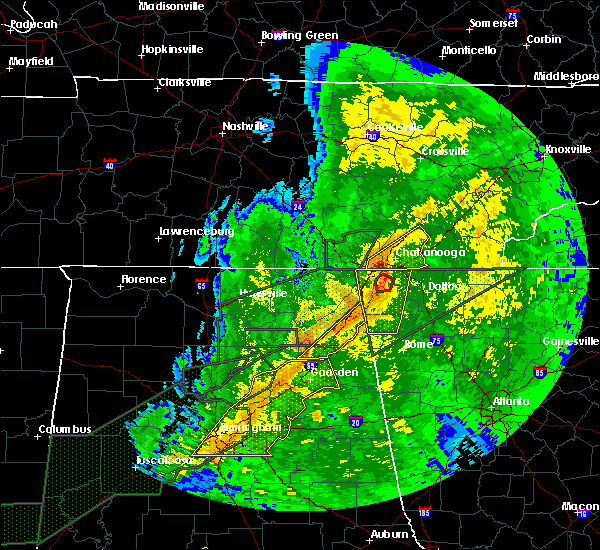 Radar Image for Severe Thunderstorms near Chattanooga, TN at 4/12/2020 11:13 PM EDT