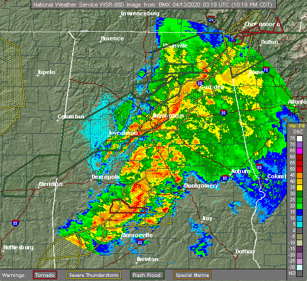 Radar Image for Severe Thunderstorms near Yellow Bluff, AL at 4/12/2020 10:24 PM CDT